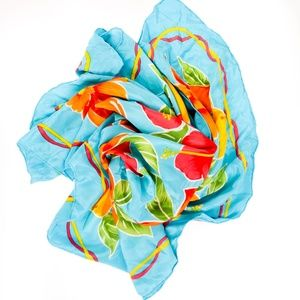 Vintage Blue Floral Tropical Fruit Silk Scarf